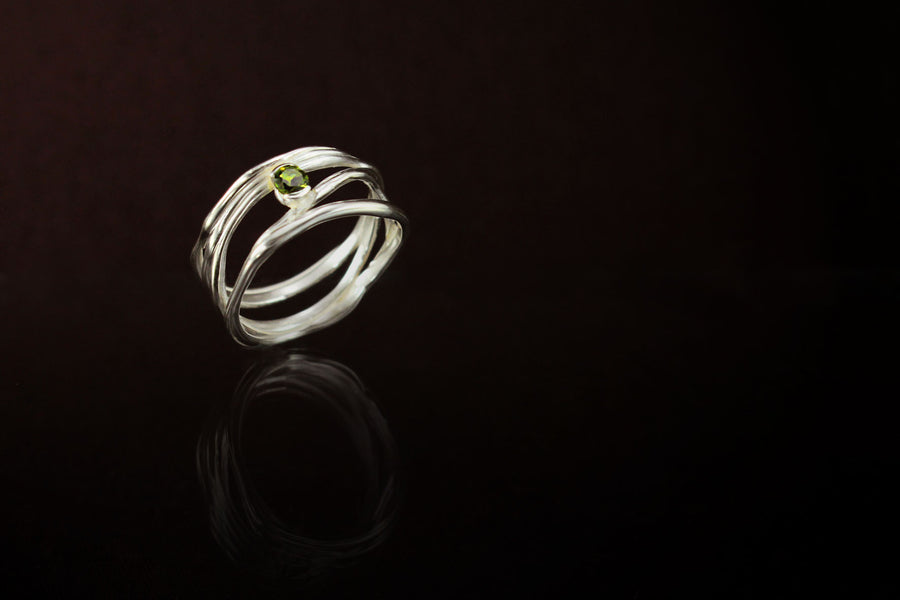 Tourmaline Stack Ring. 925 Silver