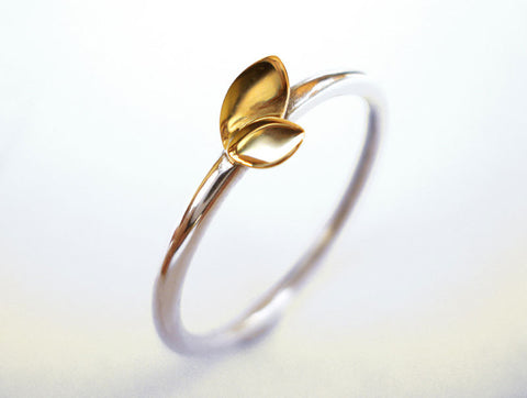 handmade leaf ring