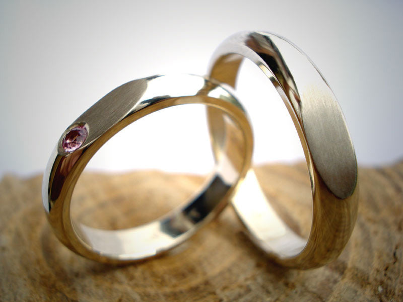 White Gold Infinity Wedding Rings / Tourmaline