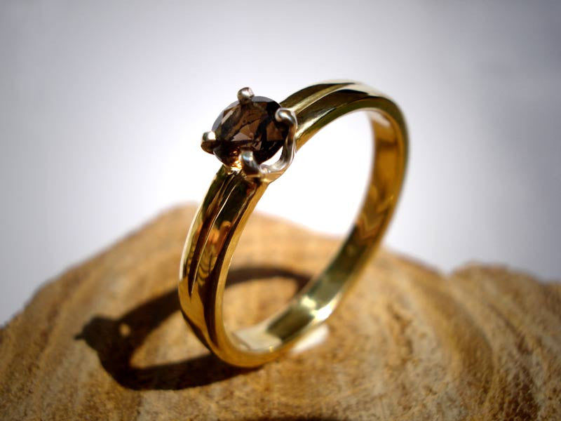Engagement Ring  Yellow Gold / smokey quartz