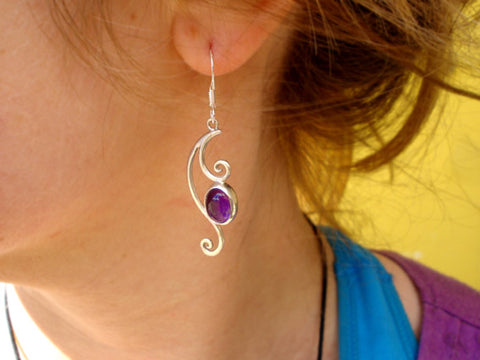 spiral amethyst earrings