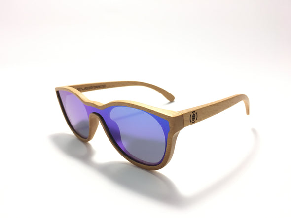 Edulis Bamboo Wood Sunglasses//Blue Lenses