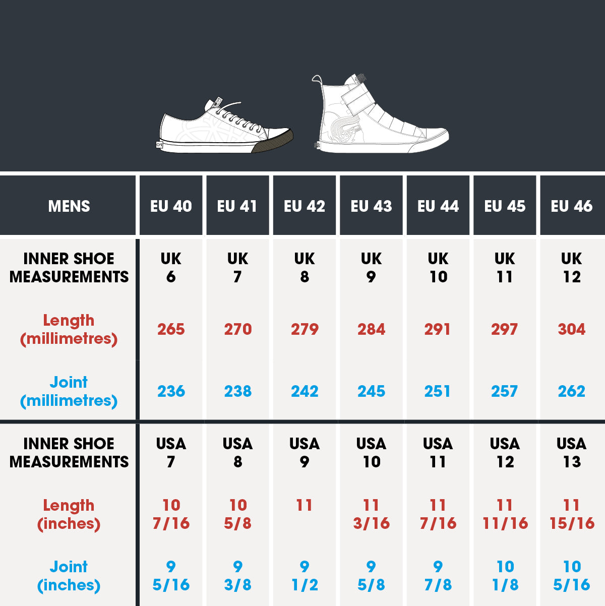 po-zu men's vulcanised sole size chart