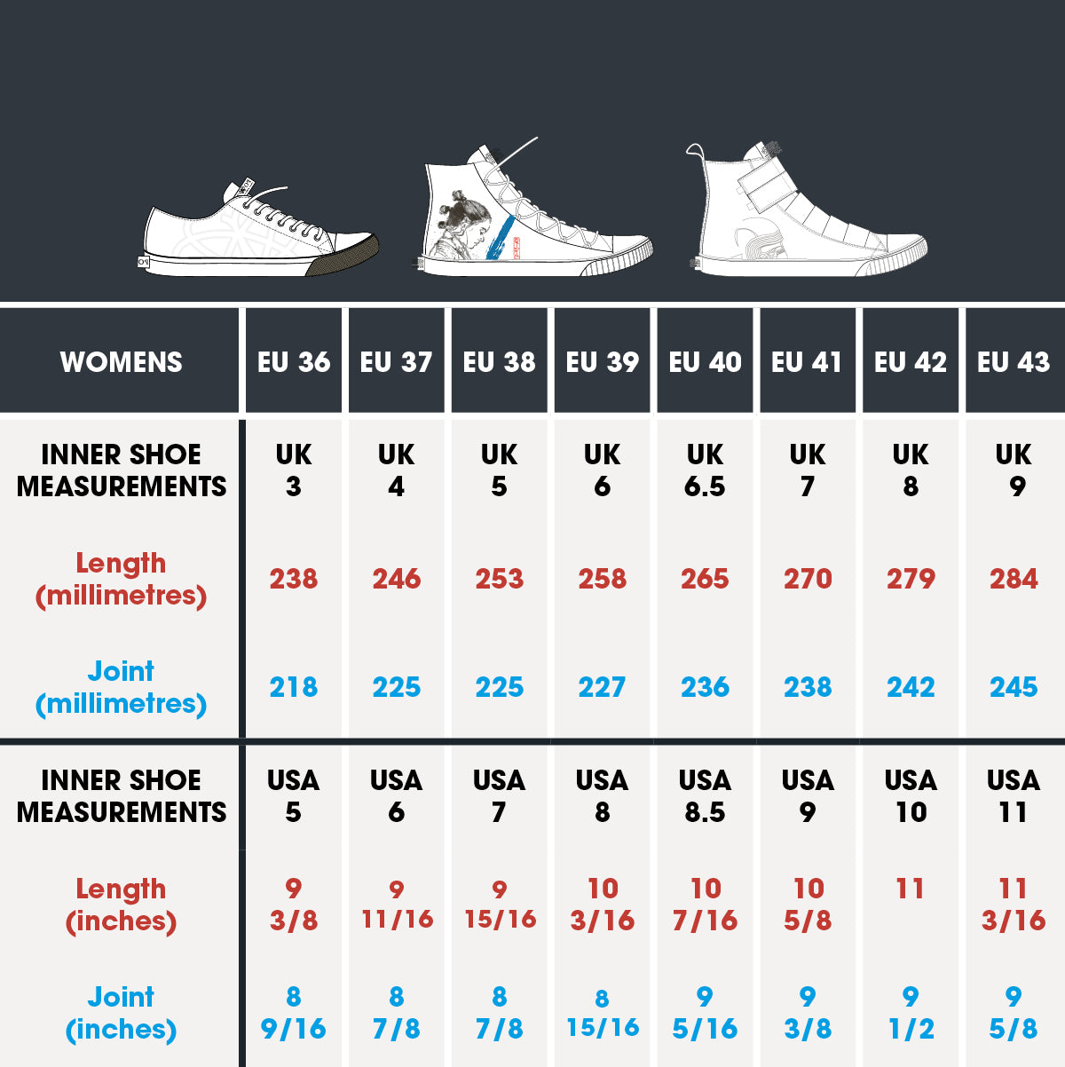 po-zu women vulcanised sole size chart