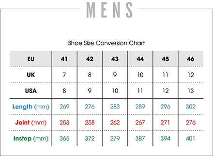 mens cup sole sizing chart