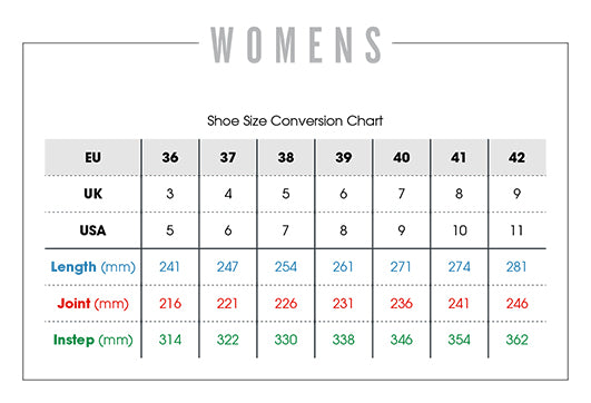 womens cup sole sizing chart