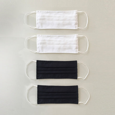 Organic Cotton Face Masks - 4 Pack - Black & Off-White