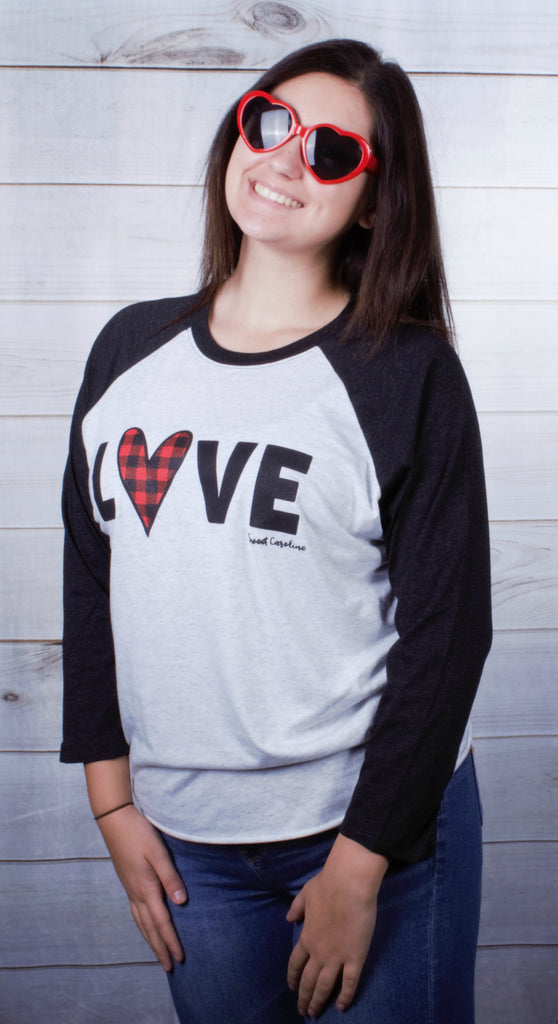 Love Plaid Raglan -- Vintage Black
