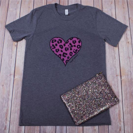 Leopard Heart Tee -- Deep Heather