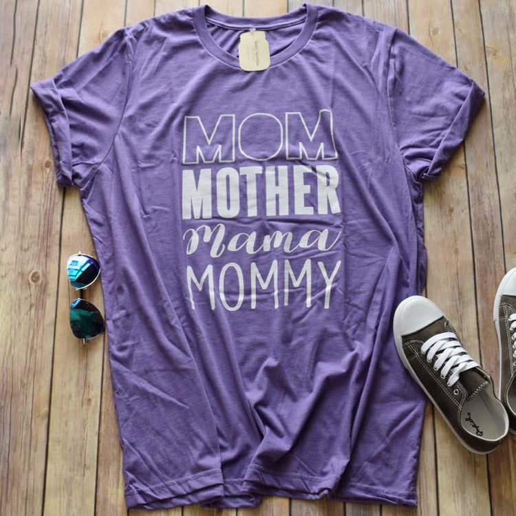 Mom Mommy Graphic Tee -- Purple