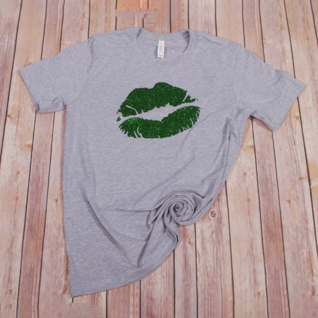 St. Patrick's Glitter Lips Tee -- Athletic