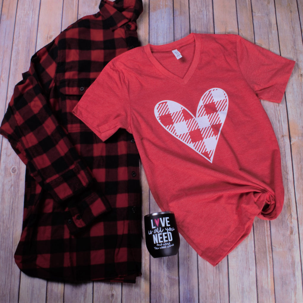 Plaid Heart Tee -- Red VNeck