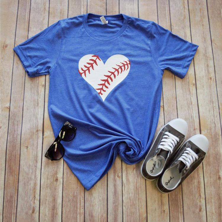 Glitter Baseball Heart -- Royal