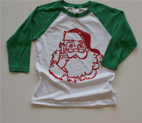 Vintage Santa Raglan {Youth} -- Green