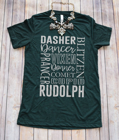 Reindeer Tee -- Evergreen