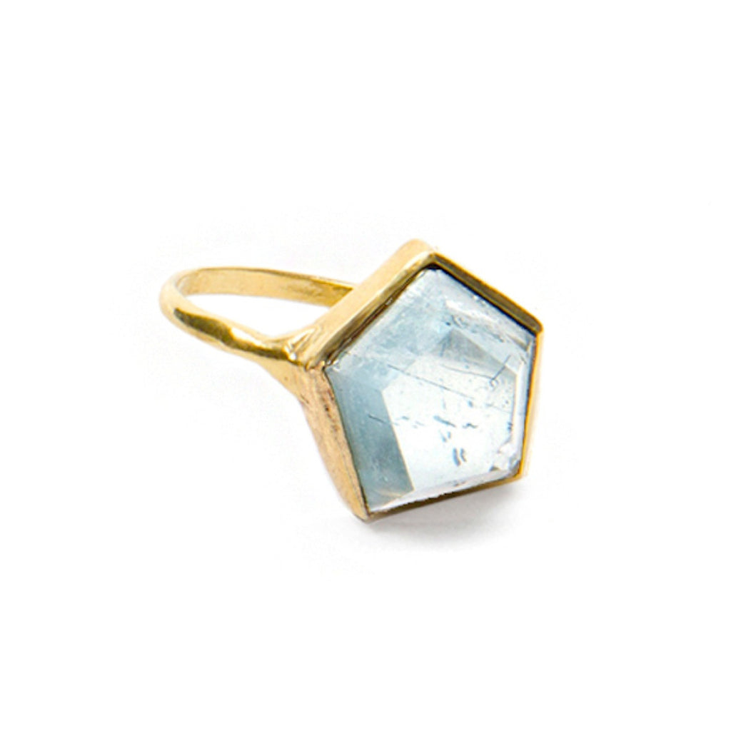 10k Gold 3D Hex Ring