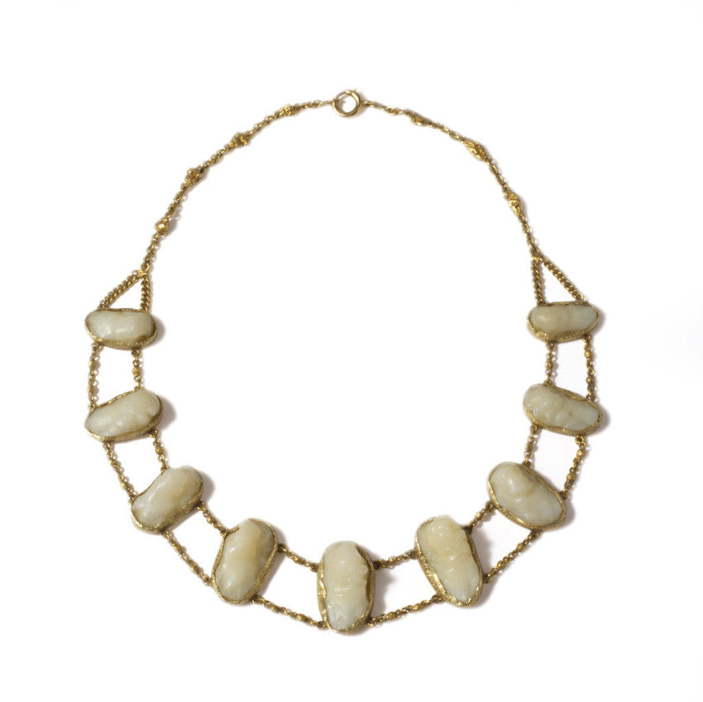 Gold Calcite Cameo Collar
