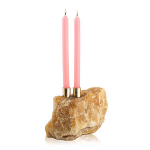 Honey Calcite Double Candlestick