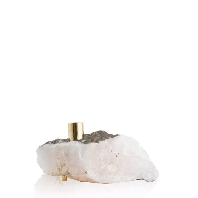 Pink Calcite Candlestick Holder