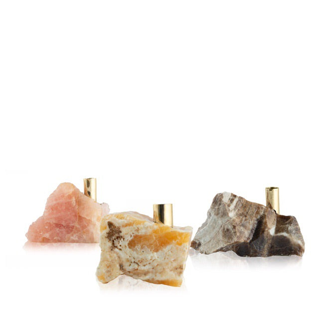Taupe Calcite Candlestick and Incense Holder