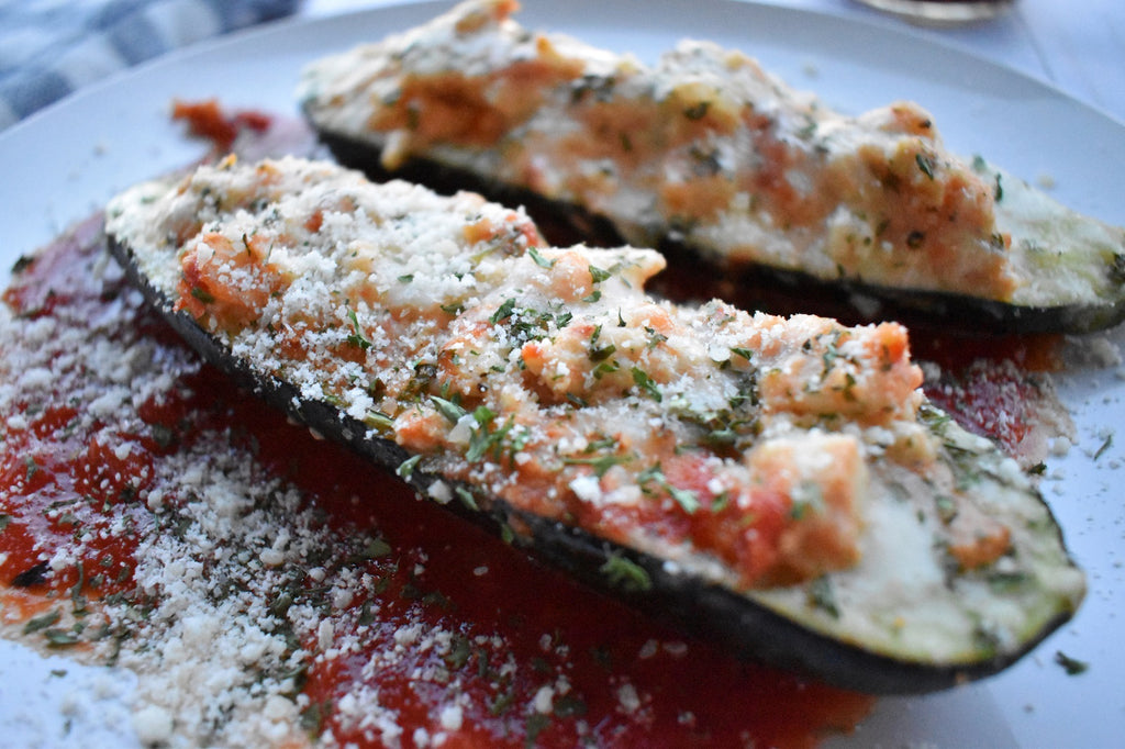 Tomato Basil Chicken Stuffed Zucchini Boats