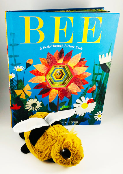 Bee, Britta Teckentrup peek-through book with Frizzles Bee stuffy