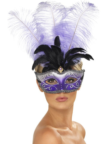 Venetian Colombina Eye Mask with Multicolour Plume