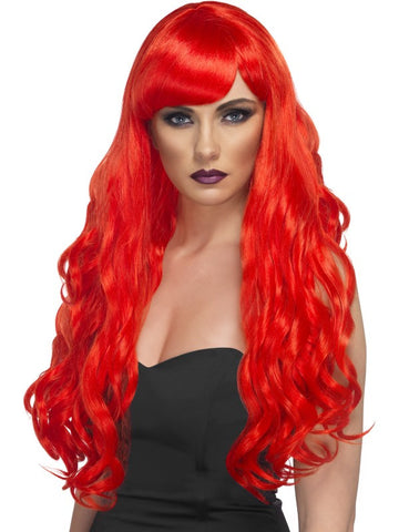 Desire Wig, Red, Long Curly with Fringe