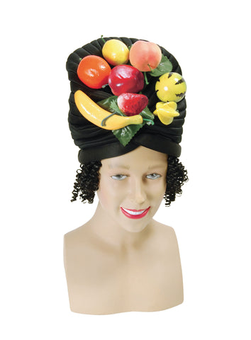 Black Hat with Fruit and Hair