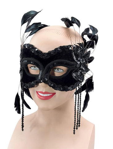 Black Velvet Mask with Feathers