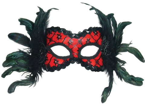 Red and Black, + Feathers Party Mask