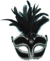 Velvet Mask. Black.Tall Feathers On band