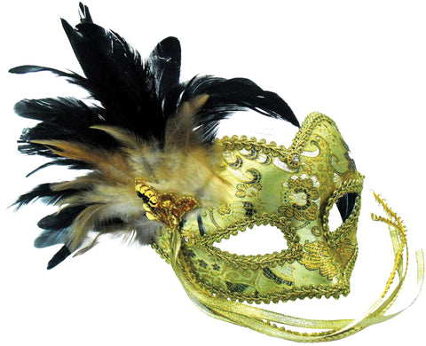 Gold + Braided Eye Pattern Mask. with feathers On band