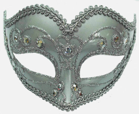 Jewelled Silver Party Mask On band