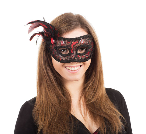 Red Black Thread Lace Mask
