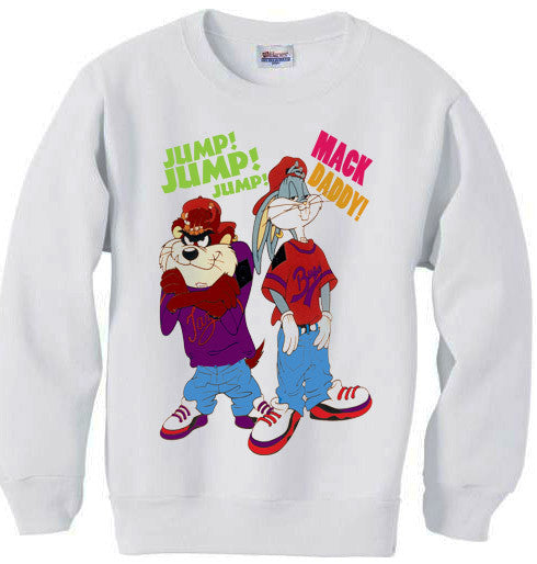 Bugs Bunny and Taz Urban 90s Hip Hop sweatshirt - White