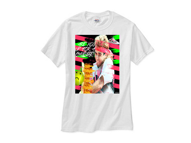 Andre Agassi Are You Up For A Challenge white tee