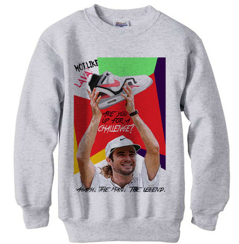 Andre Agassi Challenge Prize Sneaker Sweatshirt - Ash Grey