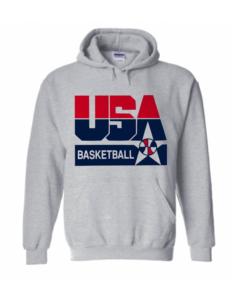 1992 Nba Olympic Dream Team usa logo hoodie pullover sweatshirt shirt - Ash Grey