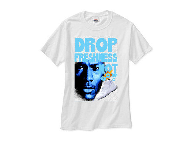 5ffed1c7b85 Jordan Retro 11 XI Legend Blue Columbia Freshness white tee – HIPSETTERS  CLOTHING BOUTIQUE
