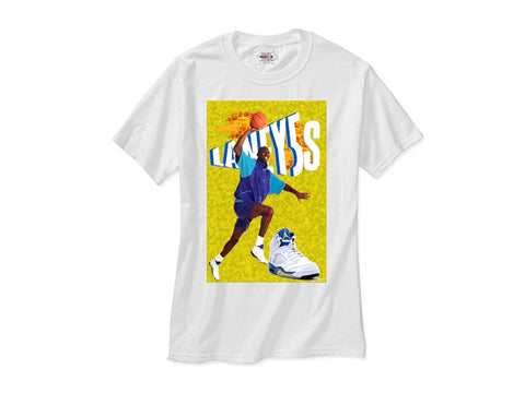 Michael Jordan Retro 5 Laney v shirt white tee