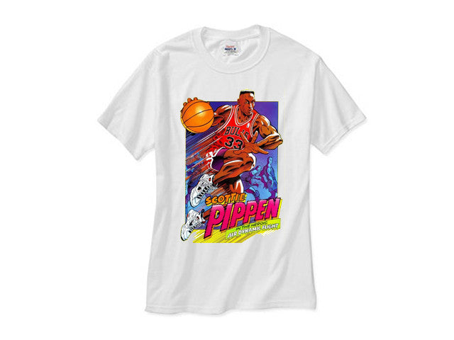 Scotty Pippen Cartoon Comic white tee
