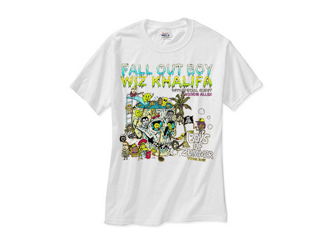 Wiz Khalifa x Fall Out Boy Tour white tee