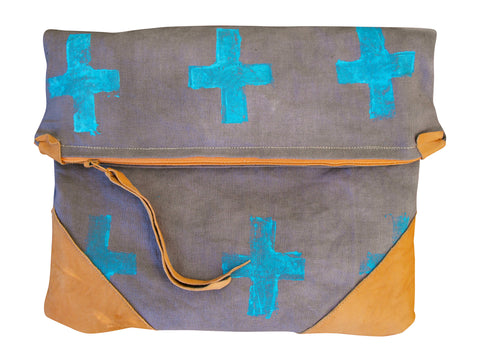 Blue Cross Fold over Clutch or Ipad Carrier, hand stamped blue cross