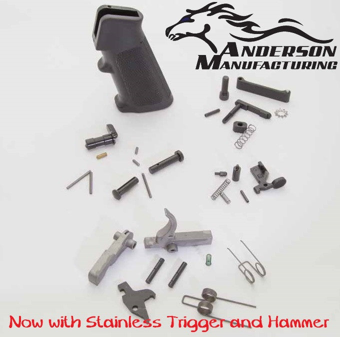 Anderson Mfg. Complete LPK Lower Receiver Parts Kit w/ Stainless Steel Trigger & Grip Assy AM-556-LW-PARTS-KIT