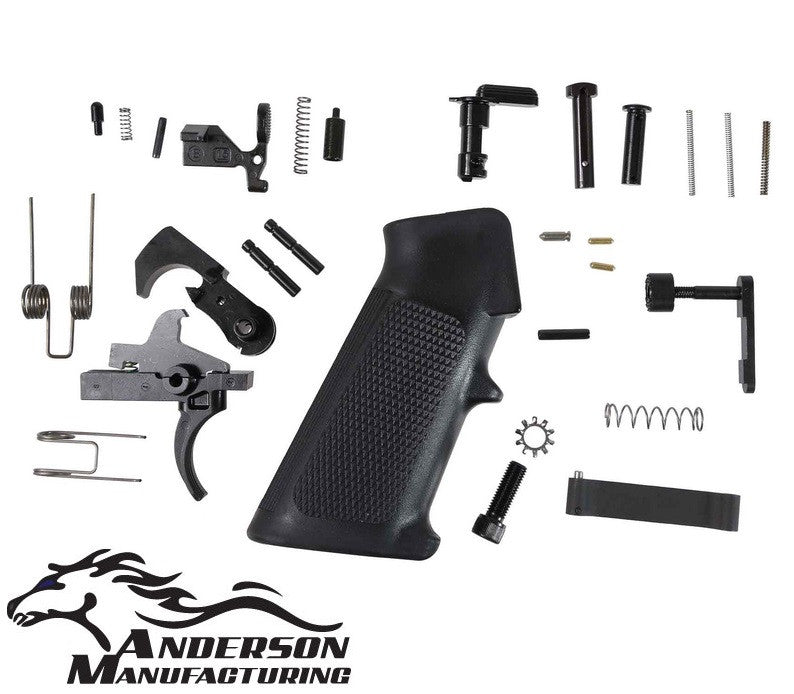 Anderson Mfg. Complete LPK Lower Receiver Parts Kit w/ Black Trigger Group & Grip Assy AM-LOWER-PARTS-KIT