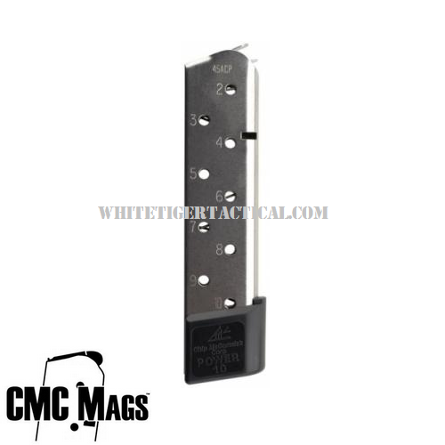 Chip McCormick 15150 POWER MAG .45 ACP 10 Round Magazine Stainless Steel Finish for 1911 Government Commander .45acp 10rd Mag