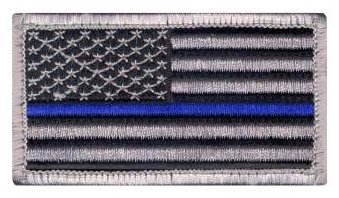 "Thin Blue Line Police U.S. Flag Velcro Morale Patch 1 7/8"" x 3 3/8"""