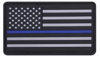 "Thin Blue Line Police U.S. Flag Velcro PVC Morale Patch 1 7/8"" x 3 3/8"""