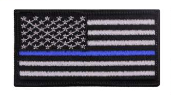 "Thin Blue Line Police U.S. Flag Iron On Morale Patch 1 7/8"" x 3 3/8"""